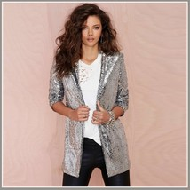 Sparkling Silver Sequined Hip Night Club DJ Blazer Turn Down Collar Coat Jacket