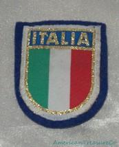 Vintage 60s Italia Italy Flag Colors Golden Felt Souvenir Shield Sew On ... - $14.50