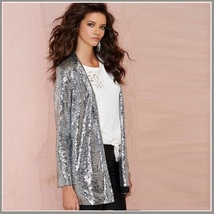 Sparkling Silver Sequined Hip Night Club DJ Blazer Turn Down Collar Coat Jacket image 2