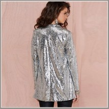 Sparkling Silver Sequined Hip Night Club DJ Blazer Turn Down Collar Coat Jacket image 3