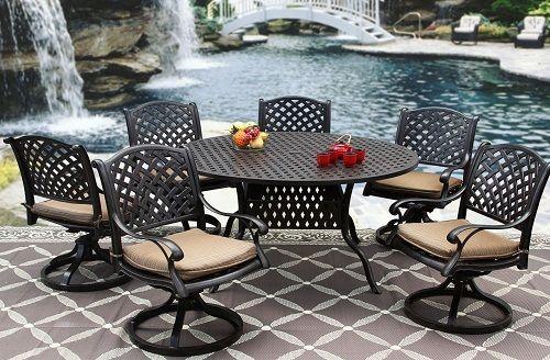"PATIO DINING SET 60"" ROUND TABLE SERIES 3000 - ANTIQUE BRONZE image 4"
