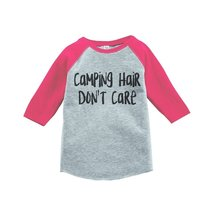 Custom Party Shop Girl's Camping Hair Outdoors Raglan Tee 4T Pink - $20.58