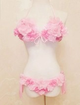 Women Barbie Pink Handmade Flower Sexy Bikini Cute Pink Princess Beach Wear - $49.99