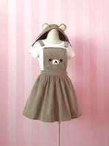 Women Cute Bear Overall Skirt Lolita Lovely Teddy Bear Casual Corduroy S... - $29.44