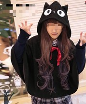 Lolita Cartoon Cat Hoodie Poncho Cape Black Cosplay Lovely Cat Cloak - $36.59