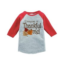 Custom Party Shop Baby's Thankful for Baby Thanksgiving 4T Red Raglan - $20.58