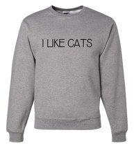 Custom Party Shop Men's I Like Cats Sweatshirt XL Grey - £22.72 GBP