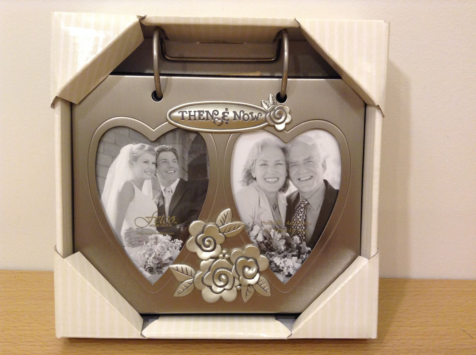 New Fetco Then and Now Flip Photo Album Frame Double Hearts 2.5x3.5 Anniversary