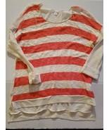 Xhileration Juniour Womens Shirt Size Med NWT Peach Stripe - $16.81