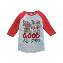 Custom Party Shop Kids I've Been Good All Year Christmas Raglan Shirt Red 2T - $20.58