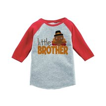 Custom Party Shop Baby Boy's Little Brother Thanksgiving 2T Red Raglan - $20.58
