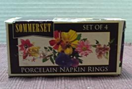 Vintage Set of Four Sommerset Floral Design Porcelain Napkin Rings in Box - $10.25