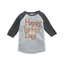 Custom Party Shop Baby's Happy Turkey Day Thanksgiving 2T Grey Raglan - $20.58