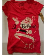 """L.O.L Vintage WOMENSChristmas T Shirt Size M """"I Believe """" Red NWT - $12.99"""