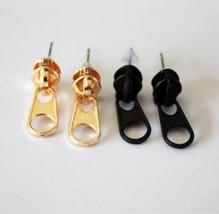 Rock Punk Zipper Shaped Stud Earrings for Women(Color:Black /Gold ) - $4.99