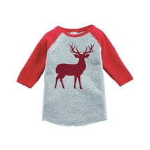 Custom Party Shop Kids Red Deer Christmas Raglan Shirt Red 4T - $20.58