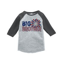 Custom Party Shop Big Brother 4th of July Raglan Tee 3T Grey - $20.58
