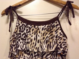 Great Condition Justice Animal Print Size 16 100% Cotton Gold Ting Sequin Dress image 3