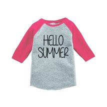 Custom Party Shop Hello Summer Raglan Tee 5T Pink - $20.58