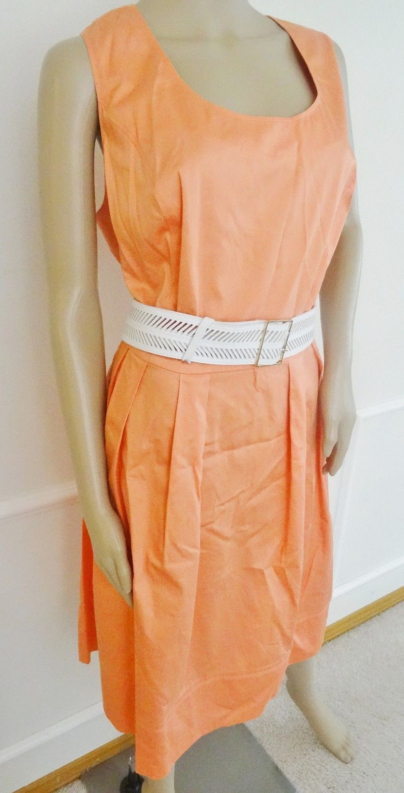 Nwt Calvin Klein Casual Day  Pleated Fit & Flare Dress Sz 18W Plus Peach $139