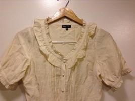 Great Condition BCBG Max Azria Medium Beige Rayon Blend Shirt Ruffled image 3