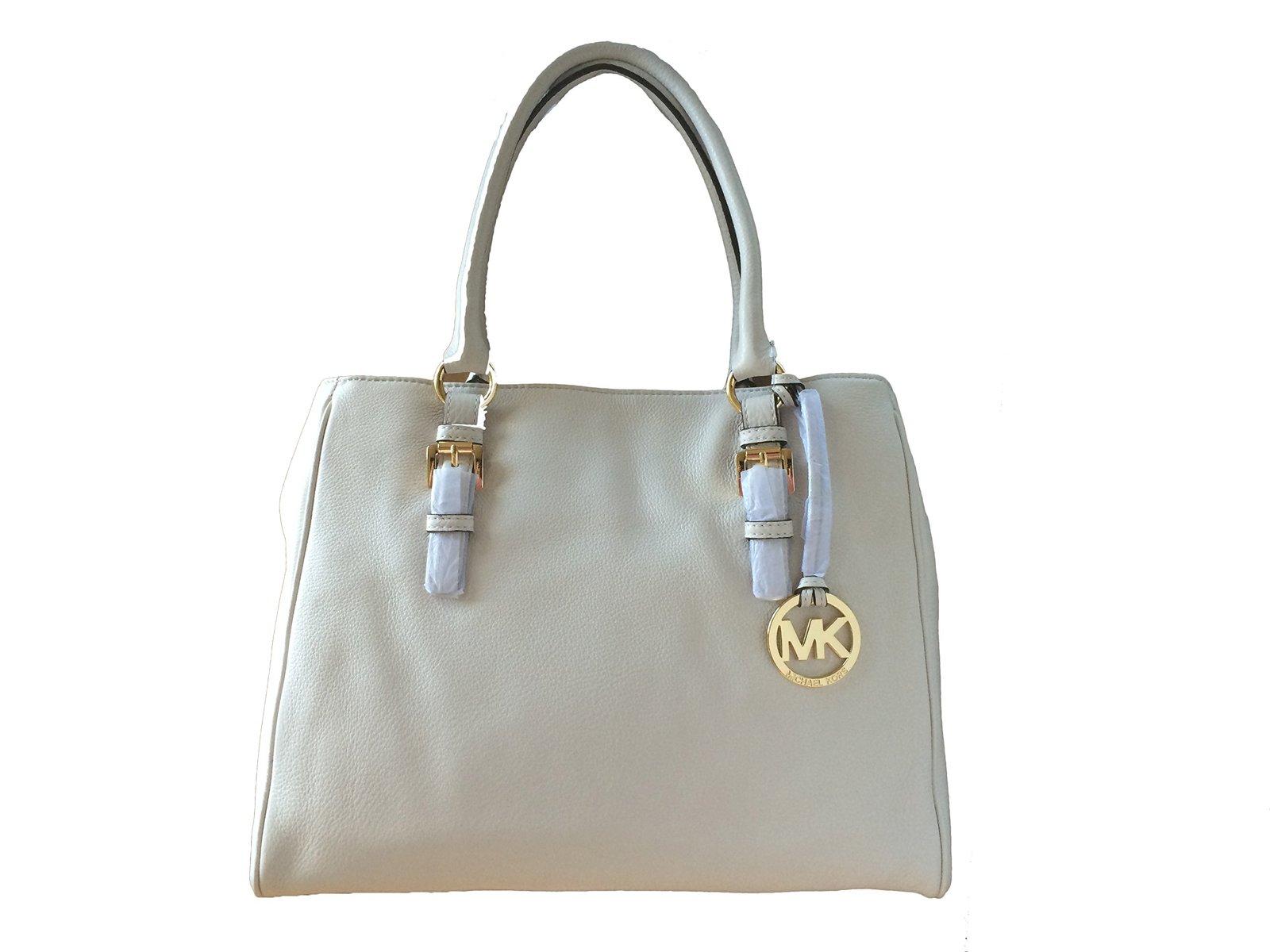 Michael Kors Jet Set Item Medium Work Tote in Vanilla Pebbled Leather - $220.99