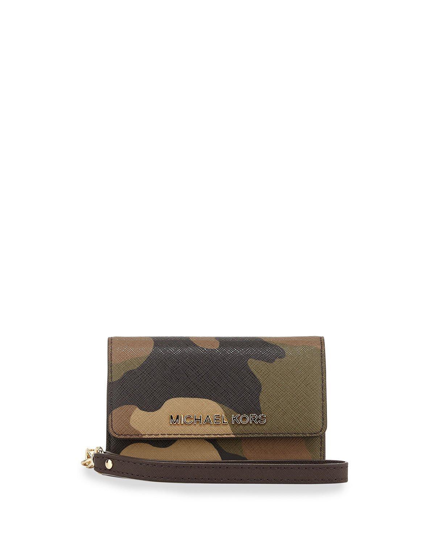 Michael Kors Jet Set Camouflage Saffiano Leather Phone Iphone 5 Wristlet Duffle - $75.99
