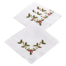 Fennco Styles Holly Embroidered Holiday Napkin, Set of 4 - $32.66