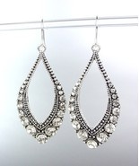 SPARKLE Antique Silver Metal CZ Crystals Tear Drop Dangle Earrings - $8.99