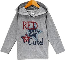Custom Party Shop Girl's Red White & Cute 4th of July Hoodie Pullover 5T Grey - $22.05