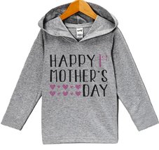 Custom Party Shop Baby Girls' Happy 1st Mother's Day Hoodie 4T Grey and Pink - $22.05