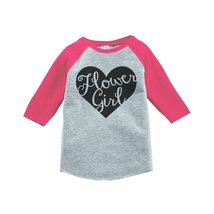 Custom Party Shop Baby Girl's Black Heart Flower Girl Wedding Raglan Tee 4T Pink - $20.58