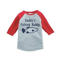 Custom Party Shop Boy's Novelty Fishing Buddy Vintage Baseball Tee 2T Red and... - $20.58