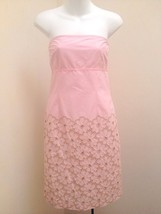 Cynthia Steffe XS S Dress Pink Strapless Sheath Cutout Floral Embroidery - $23.50