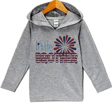 Custom Party Shop Boy's Little Brother 4th of July Hoodie Pullover 4T Grey - $22.05