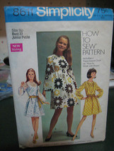 Vintage 1960's Simplicity 8611 Junior Petite Dress Pattern - Size 9JP Bu... - $8.41