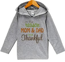 Custom Party Shop Baby's Mom and Dad Are Thankful Thanksgiving Hoodie 24 Mont... - $22.05