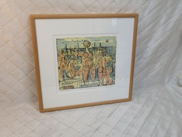 Women by the Sea Herbert Johannes Siebner Signed Artist Proof Color Etching 1952 - $866.74