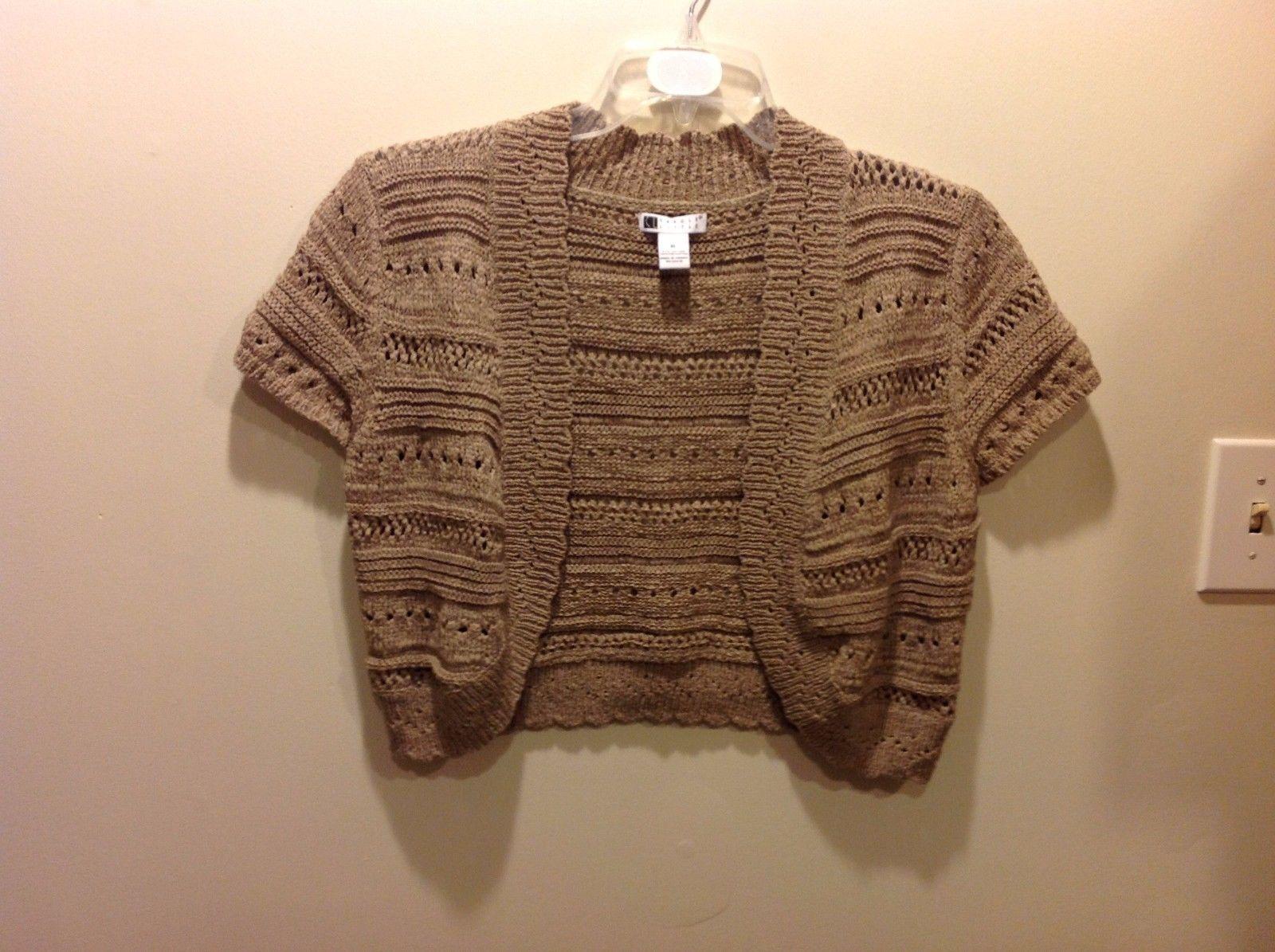 Carole Little Earthy Sandy Brown Open Mini Short Sleeve Cardigan Sz XL