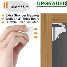 Child Safety Magnetic Cabinet Locks - 16 Pack Children Proof Cupboard Ba... - $30.06
