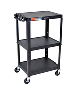 Offex Home Office Adjustable Height Black Metal A/V Cart - $158.31
