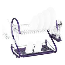 iron 2 Tiers Kitchen Dish Cup Drying Rack Drainer (Color:purple) - $30.40