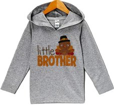 Custom Party Shop Boy's Little Brother Thanksgiving Hoodie 2T Grey - $22.05
