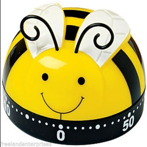 Kitchen Timer Spring Bumble Bee Design 60 Minute Timer  (Yellow Black White Qnt 2