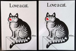 Kliban Kilban Love Cat Kiss 2 Cards Unused Stat... - $19.78