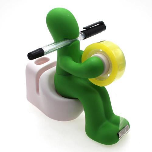 Creative Butt Station Green Desk Organizer Accessory Pen Tape Paper Clip Holder
