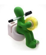 Creative Butt Station Green Desk Organizer Accessory Pen Tape Paper Clip... - £4.77 GBP
