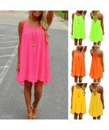 Sexy Women Solid Color Summer Beach Party Eveni... - $103,91 MXN