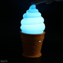 Novelty Ice Cream Cone Shaped LED Night Lamp Desk Table Light For Kids B... - $8.88