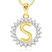 """Initial Pendant Round """"S"""" 925 Silver 14K Yellow Gold Fn Pendant W/ chain - $45.99"""